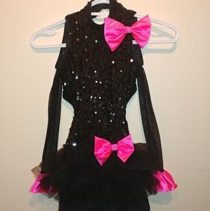 Weissman dance costume. Black sequence with pink
